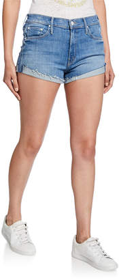 Mother Rascal Frayed Flip Hem Shorts