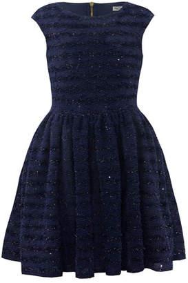 David Charles Boucle Lurex Cap-Sleeve Fit-&-Flare Dress, Size 10-16