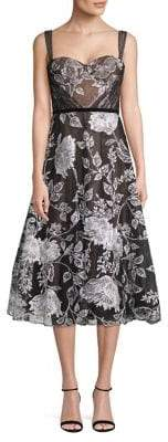 Marchesa Floral-Print Fit--Flare Dress