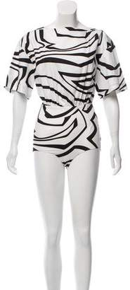Emilio Pucci Printed Short Sleeve Bodysuit w/ Tags