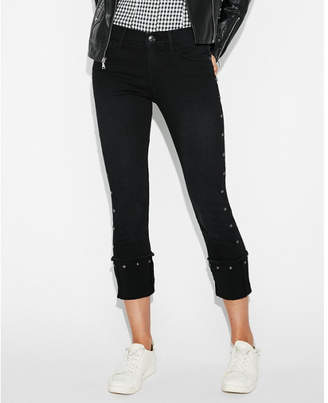 Express mid rise black studded stretch cropped skinny jeans