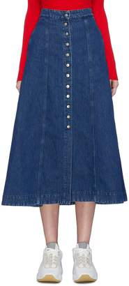 Acne Studios Button front flared denim skirt