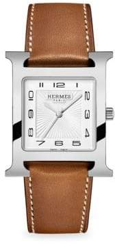 Hermes Watches Heure H, Stainless Steel& Leather Strap Watch