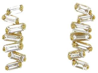 Suzanne Kalan Firework Diamond Baguette Stud Earrings - Yellow Gold