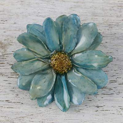 Azure Aster Delight Blue Natural Aster Flower Gold-Plated Brooch Pin