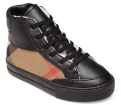 Burberry Toddler's & Kid's Mini Haypack Shearling-Lined High-Top Sneakers $250 thestylecure.com
