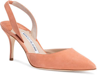 Manolo Blahnik Carolyne 70 Dusty Peach Suede Slingback Pumps