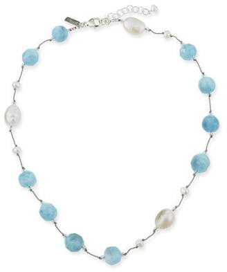 Crystal Pearl Margo Morrison Crystal, Pearl & Aquamarine Necklace