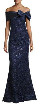 Rickie Freeman for Teri Jon Off-the-Shoulder Embroidered Mermaid Gown, Navy $795 thestylecure.com