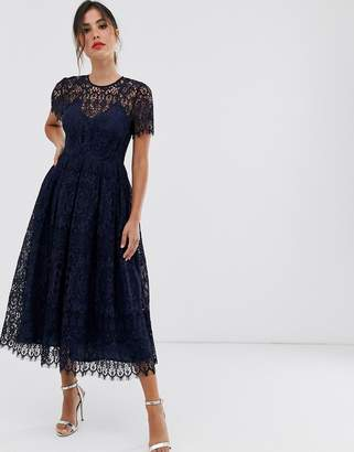 Asos Design DESIGN lace midi dress with ribbon tie and open back