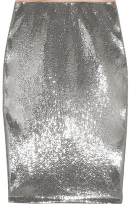 Diane von Furstenberg - Sequined Tulle Midi Skirt - Silver $700 thestylecure.com