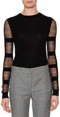 Alexander McQueen Crewneck Sheer Long-Sleeve Cropped Pullover Sweater