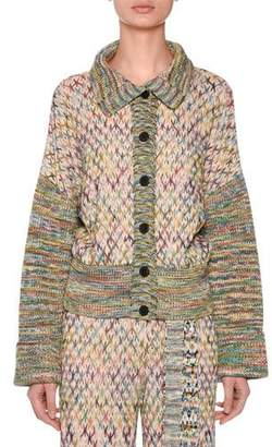 Missoni Button-Down Cross-Stitched Wool-Blend Cardigan