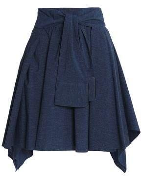 Halston Tie-Front Draped Mélange Cotton-Jersey Mini Skirt