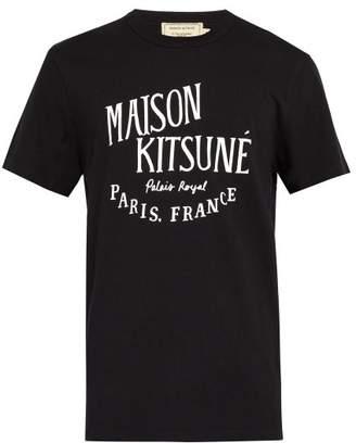 MAISON KITSUNÉ Palais Royal Logo Print Cotton T Shirt - Mens - Black