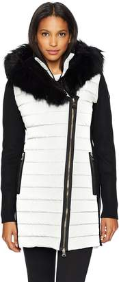 Calvin Klein Women's Walker Jacket W/Sweater Rib and Drama Collar Faux Fur Trimmed Hood