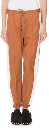 Isabel Marant Coy Drawstring Leather Jogger Pants