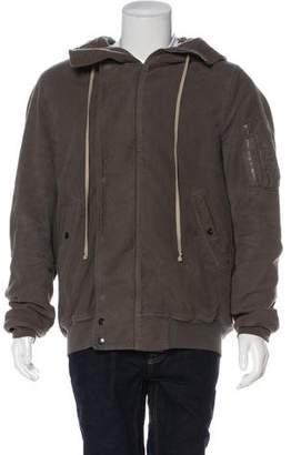 Rick Owens Moleskin Hooded Bomber Jacket