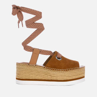 e0675ed6e367 See by Chloe Women s Tie Up Espadrille Mid Wedge Sandals - Tan
