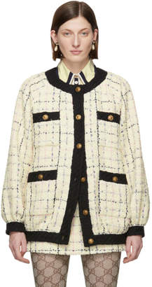 Gucci Black and Off-White Check Cardigan