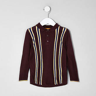 River Island Mini boys purple stripe polo T-shirt