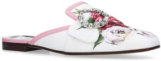 Dolce & Gabbana Leather Sabot Rose Slippers