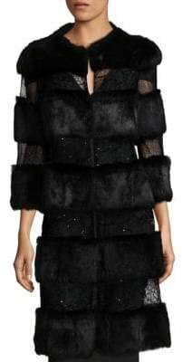 Alberto Makali Rabbit Fur Sequin Long Coat