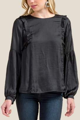 francesca's Carrie Satin Ruffle Statement Sleeve Blouse - Black