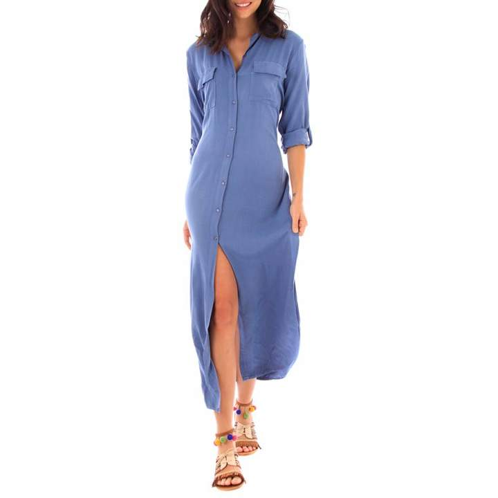 Indigo Cotton 3/4 Sleeve Dress