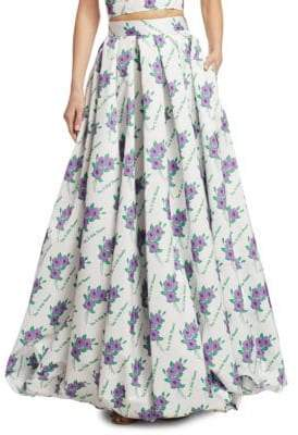 Rosie Assoulin Full Floral Pleated Maxi Skirt