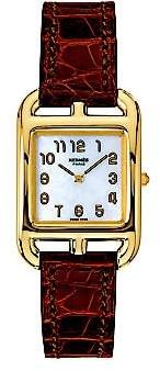 Mother of Pearl HERMÃS HERMÃS Women's Cape Cod Mother-Of-Pearl, 18K Yellow Gold& Alligator Strap Watch