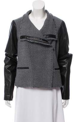 Vince Knit Leather Asymmetrical Zip-Up Jacket w/ Tags
