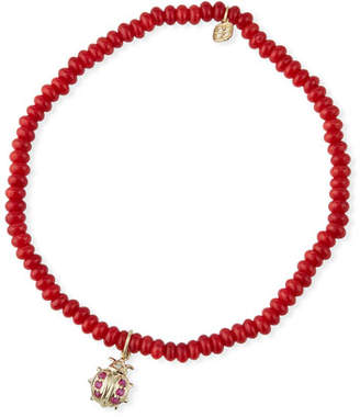 Sydney Evan 14k Small Ruby Ladybug & Red Coral Bracelet