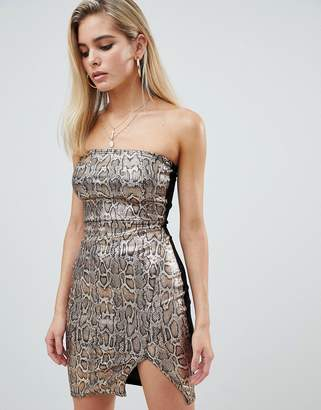 PrettyLittleThing sequin bodycon split detail mini dress in snake print