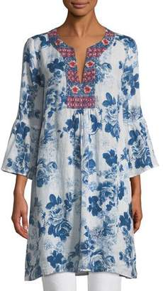 Johnny Was Flare-Sleeve Floral-Print Tunic