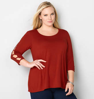 Avenue Solid Caged Sleeve Top