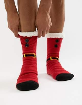 Asos DESIGN Holidays slipper socks in santa design with fluffy lining