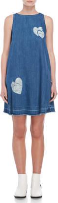 Love Moschino Distressed Heart Denim Dress
