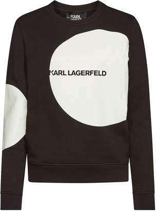 Karl Lagerfeld Paris Dots Logo Printed Cotton Sweatshirt