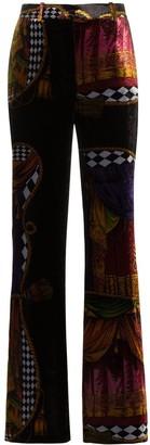 Versace high-waisted Sipario print silk blend velvet trousers
