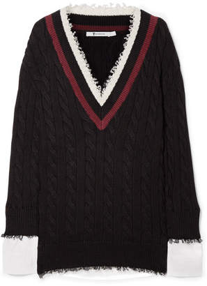 T by Alexander Wang - Frayed Cotton-blend And Poplin Sweater - Black
