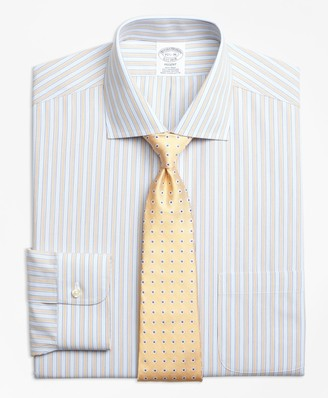 Brooks Brothers Regent Fitted Dress Shirt, Non-Iron Framed Track Stripe