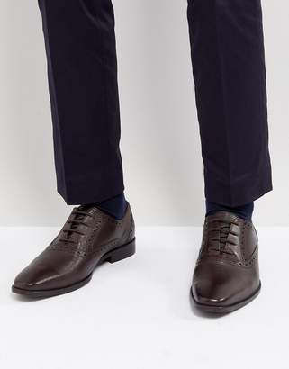 Dune Saffiano Brogue Shoes In Brown Leather