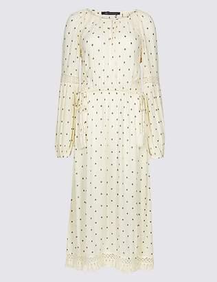 Marks and Spencer Printed Long Sleeve Fringe Detail Midi Dress