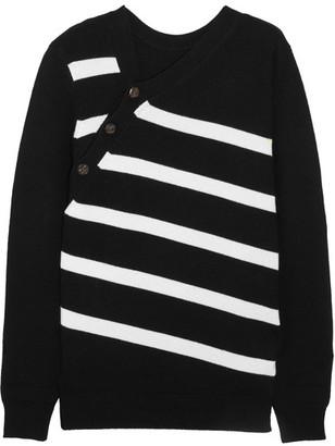 Proenza Schouler - Striped Cashmere And Cotton-blend Sweater - Black $860 thestylecure.com
