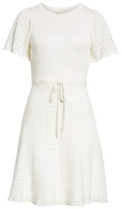 Kate Spade flutter sleeve A-line knit sweater dress