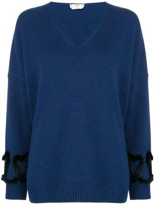Fendi embellished v-neck knit sweater