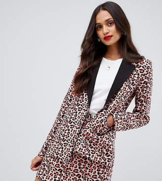 Unique21 UNIQUE21 blazer with contrast lapel in orange leopard co-ord