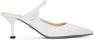 Prada White Leather Mules