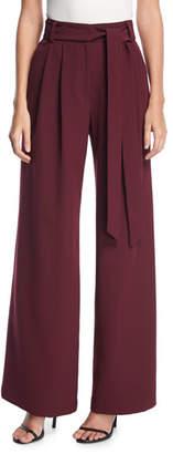 Milly Natalie Tie-Waist Wide-Leg Pants